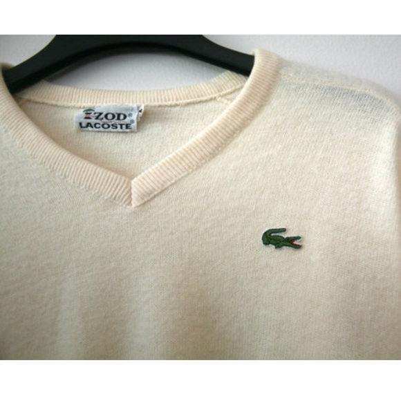 White Usa Made Off Lacoste Izod Vintage Sweater DIWE9H2Y